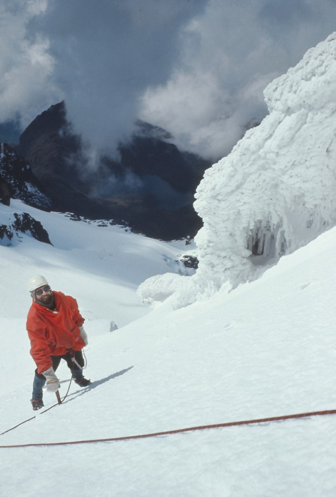 Dave Moriarty, the first President of the CCSA, climbing Mt Stanley, Ruwenzori Mountains.